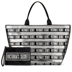 Victoria's Secret Glittery Tote With Pouch